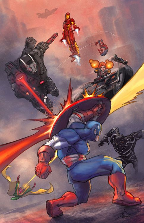 Cap vs The Avengers by David Joyce.