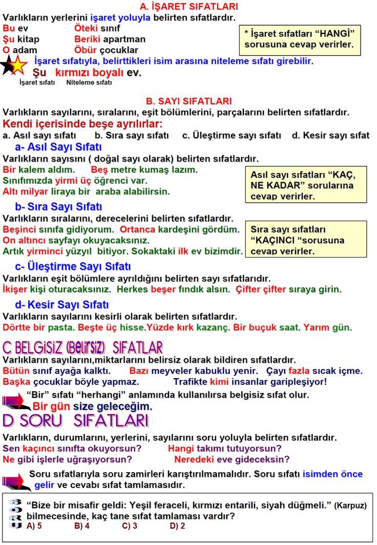 3. Sınıf Türkçe Sıfatlar ( Ön Adlar ) Konu Anlatımı-Ders Özeti ve Değerlendirme Soruları