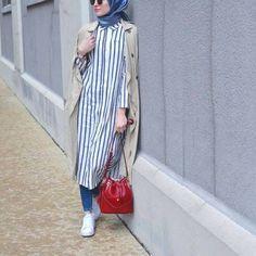 striped shirt dress with hijab- How to wear shirt dress with hijab http://www.justtrendygirls.com/how-to-wear-shirt-dress-with-hijab/