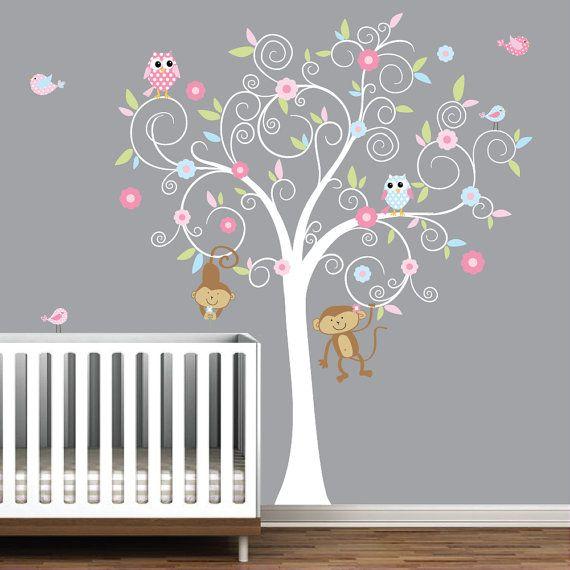 Bambini della scuola materna a parete decalcomania albero con scimmie-Vinyl Wall Decals adesivi on Etsy, 95,69€