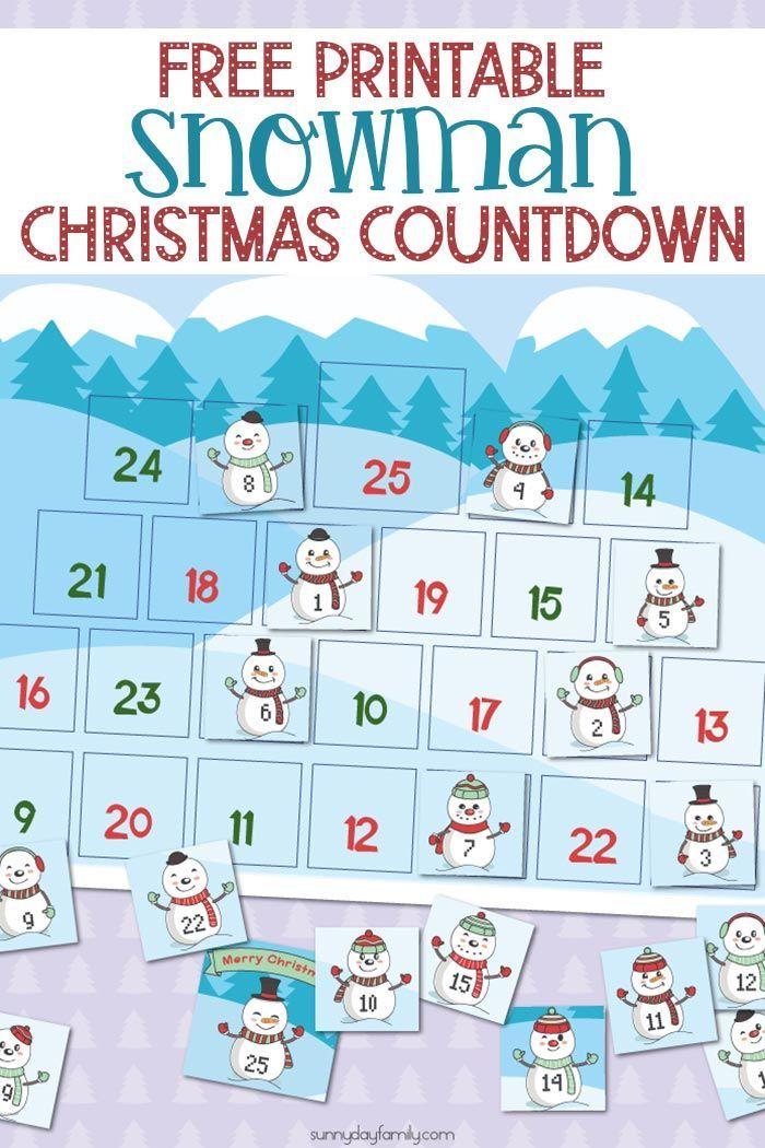 Free Printable Snowman Christmas Countdown Calendar for Kids