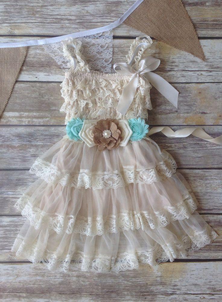 Tan Beige Seafoam Lace Burlap Girl Dress, Country Western Wedding, Tan Beige Flower Girl Dress, Toddler Vintage Dress, Photo Prop Rustic by AvaMadisonBoutique on Etsy https://www.etsy.com/listing/234735921/tan-beige-seafoam-lace-burlap-girl-dress