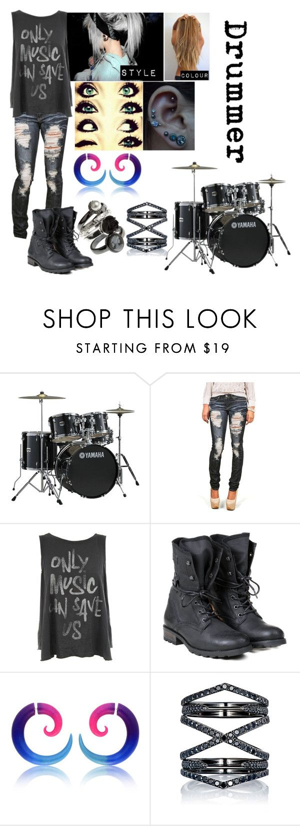 """Punk Rock Band - Drummer"" by blackest-raven ❤ liked on Polyvore featuring Yamaha, Junk Food Clothing, PLDM by Palladium and Eva Fehren"