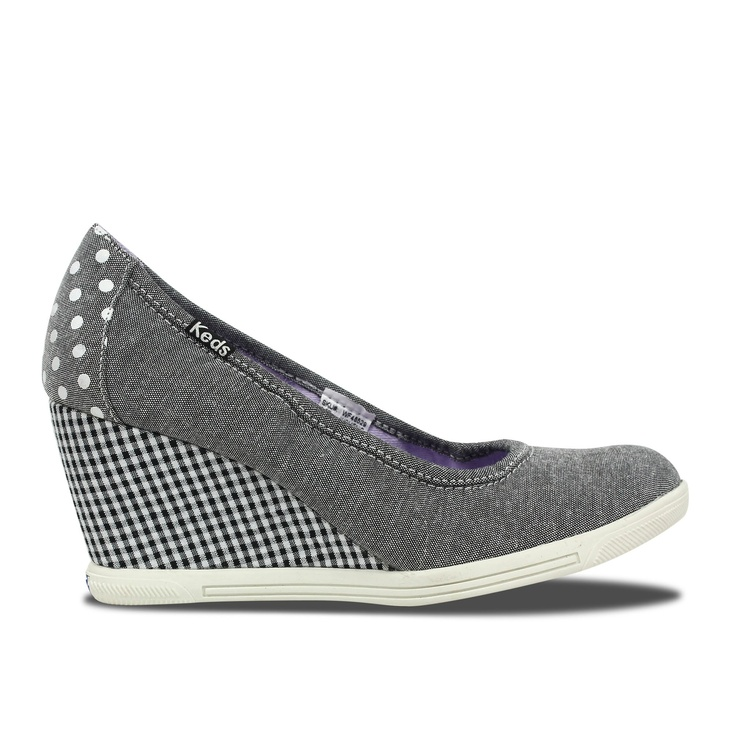 keds black and white wedge
