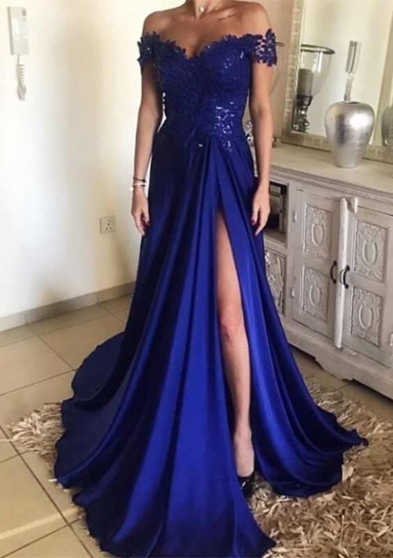 2018 Fashion Off The Shoulder Prom Dress Royal Blue 8bbebe6959b0