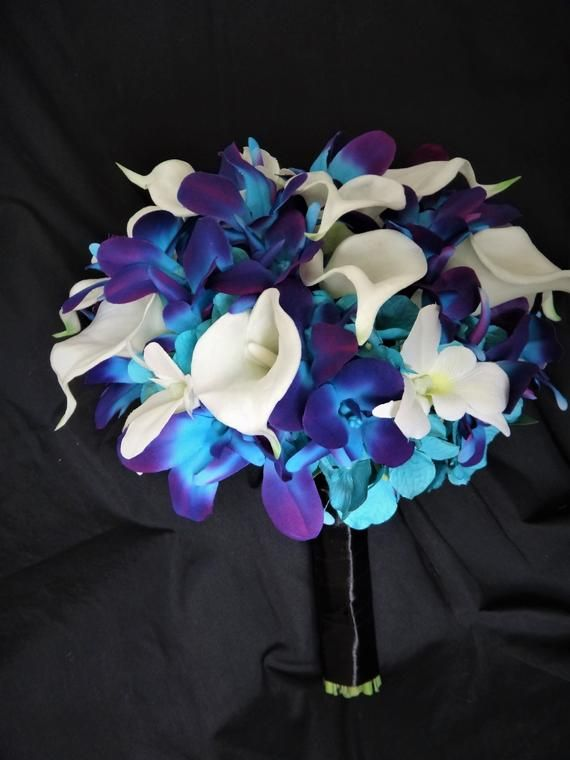 Galaxy Orchid Bridal Bouquet Calla Lily Turquoise Purple Bouquet