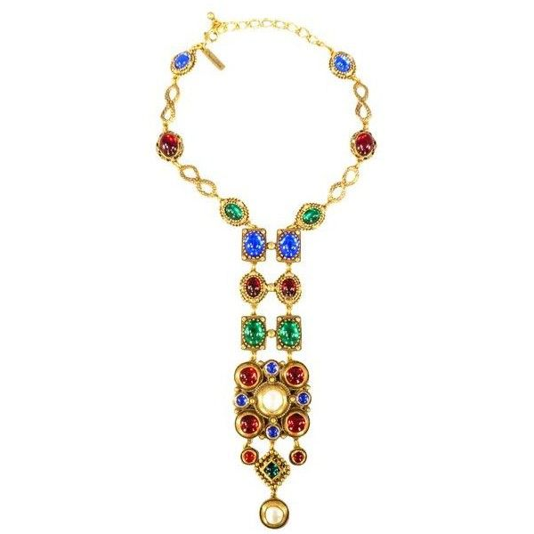 Pre-Owned Oscar De La Renta Jeweled Gold Byzantine European Vintage... ($441) ❤ liked on Polyvore featuring jewelry, necklaces, gold crucifix necklace, gold necklace, long necklaces, long gold necklace and gold egyptian necklace