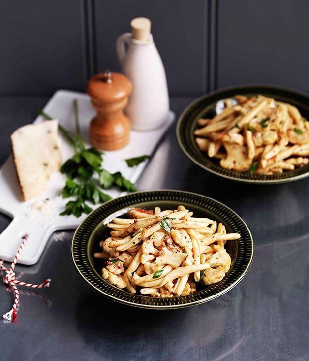 Australian Gourmet Traveller pasta recipe for cauliflower, anchovy and chilli strozzapreti.