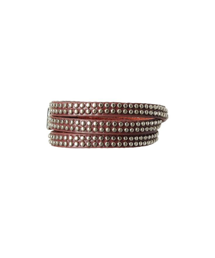 Studded pleather wrap bracelet