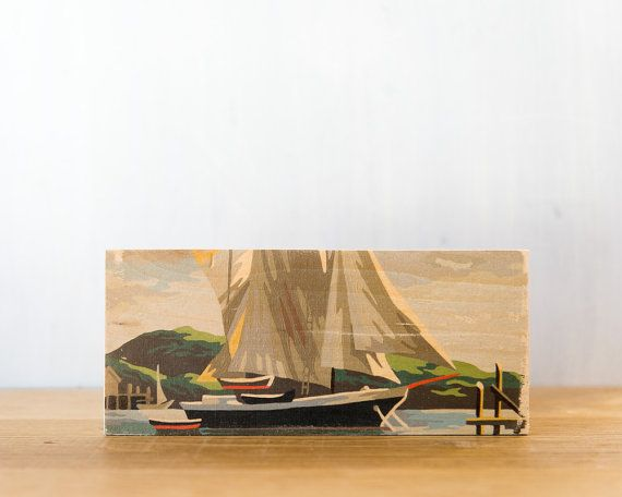 Paint by Number Art Block 'Sailboat' Horizontal  by StudioLiscious, $22.00