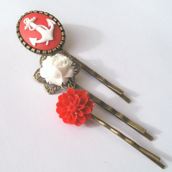 Red Anchor Bobby Pin Set by TemporalFlux, $12.00