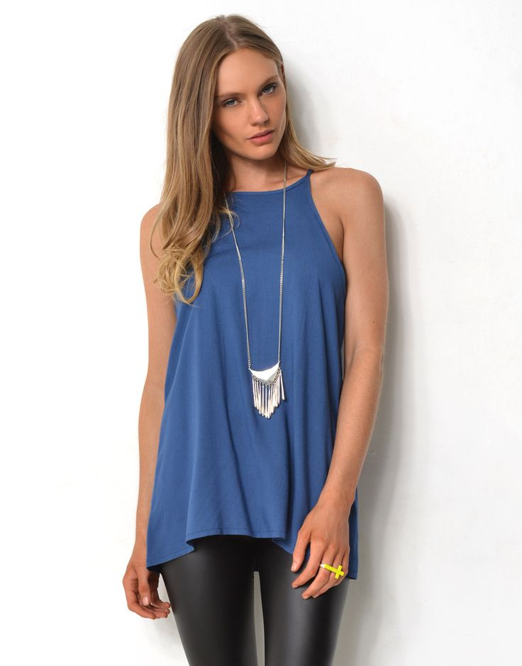 Supre STRAPPY HIGH NECK TOP - STRAPPY HIGH NECK LOOSE FIT TOP - Plain Fashion Tops