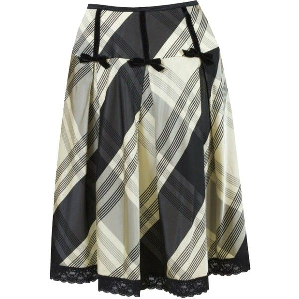 Pre-owned Nanette Lepore Black & Yellow Plaid Silk Skirt (€140) ❤ liked on Polyvore featuring skirts, yoke skirt, yellow tartan skirt, silk skirt, inverted pleat skirt and nanette lepore skirt