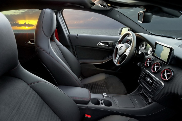 New Mercedes-Benz A-Class - Carscoop - Certain models such as the A 200 CDI and A 250, also get a flat-bottomed perforated Nappa leather sports steering wheel, Alcantra trim parts with red stitching and sports seats.
