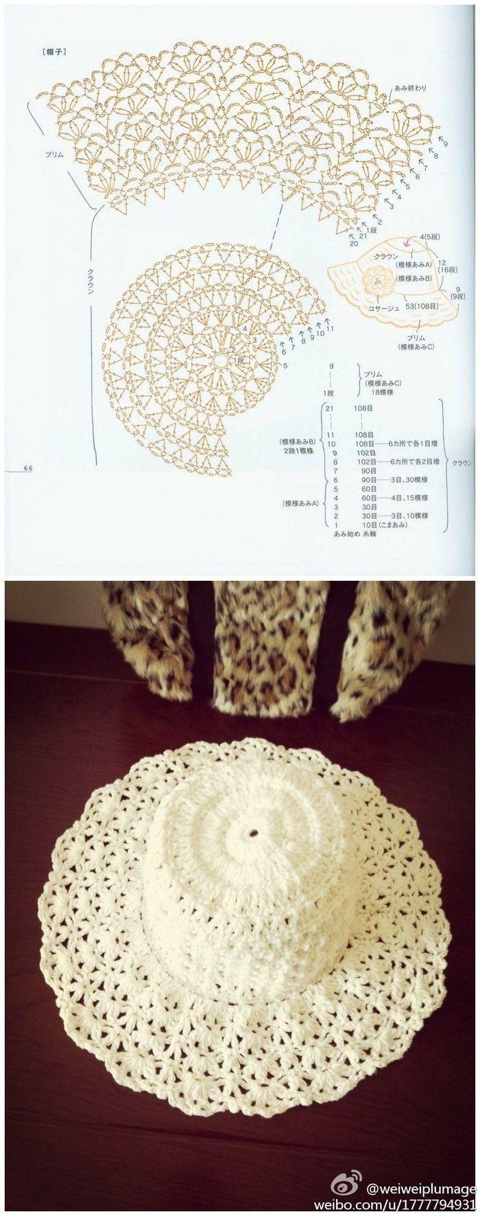 1071 best barretes boinas images on pinterest pictures un lindo sombrero crochet hat pattern bankloansurffo Choice Image