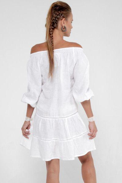da6f56b70e6 100% Linen Collared Golf Dress With Hidden Pockets in White