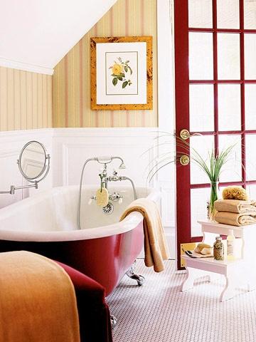 red clawfoot tub/door