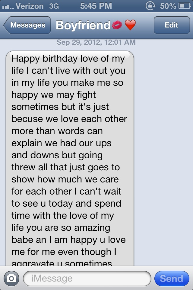 Birthday Text Part 1