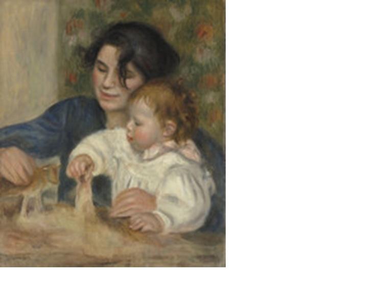 <가브리엘과 장(Gabrielle et Jean)>   르누아르, 19세기경  오랑주리 미술관 소장 - 이 작품은 르느와르의 아들 장과 하녀 가브리엘이 다정히 놀이를 하며 한가로운 시간을 보내고 있는 모습을 표현한 것이다.