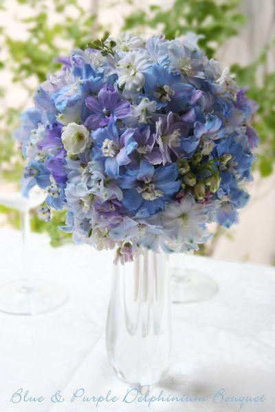 kukkaのウエディングフラワーブック-デルフィニウム,ラウンドブーケ,青,紫