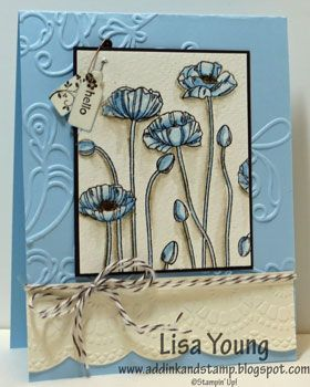 Stamps: Tiny Tags, Pleasant Poppies  Paper: Watercolor Paper  Card Stock: Very Vanilla, Early Espresso, Bashful Blue  Ink: Black Stazon, Bashful Blue, Crumb Cake, Early Espresso  Other: Blender Pen, Early Espresso Bakers Twine, Big Shot, Elegant Lines Folder, Delicate Designs Folder, Jewelry Tag Punch, Vintage Trinkets