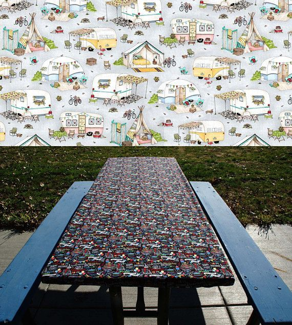 Fitted Picnic Table Cloth • Folding Table Cover • Vintage Retro Camper • Tents Trailers • Glamping • Elastic Table Cover • Fitted Tablecloth
