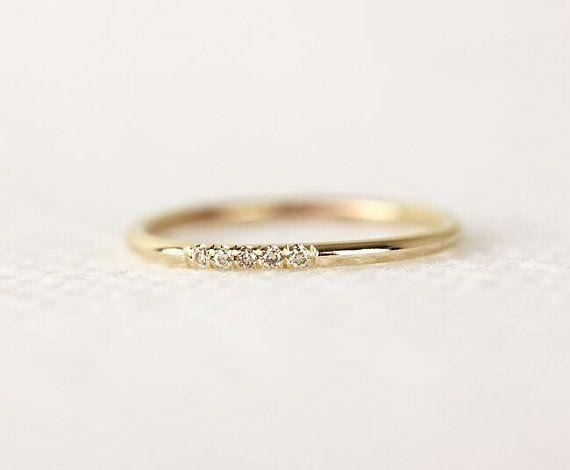 14 k Solid Yellow Gold Champagner Diamanten Eheringe In ebnen festgelegt, eine halbe Ewigkeit Champagne Diamond Wedding Band, einfache Hochzeitsband