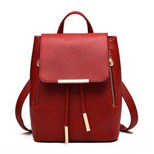 Internet Femmes en cuir à fermeture éclair sacs à dos sac à main de mode (Vin rouge)