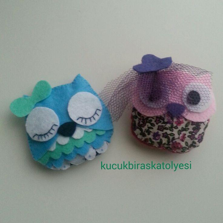kece baykus magnet felt owl