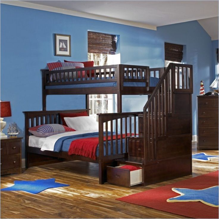 Atlantic Furniture Columbia Staircase Bunk Bed Twin Over Full In Antique Walnut Ab55704 Lowest