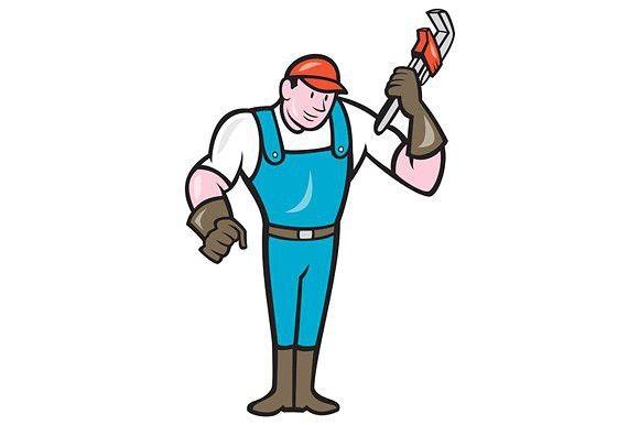 Plumber Standing Monkey Wrench Carto Monkey Wrench Plumber Cartoon Styles
