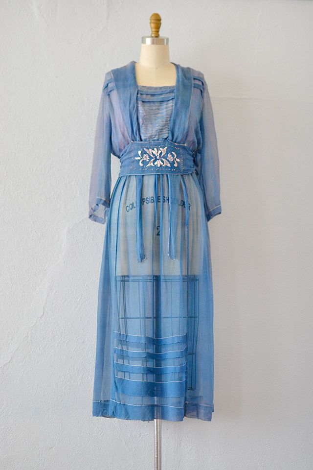 antique 1910s edwardian blue silk chiffon dress