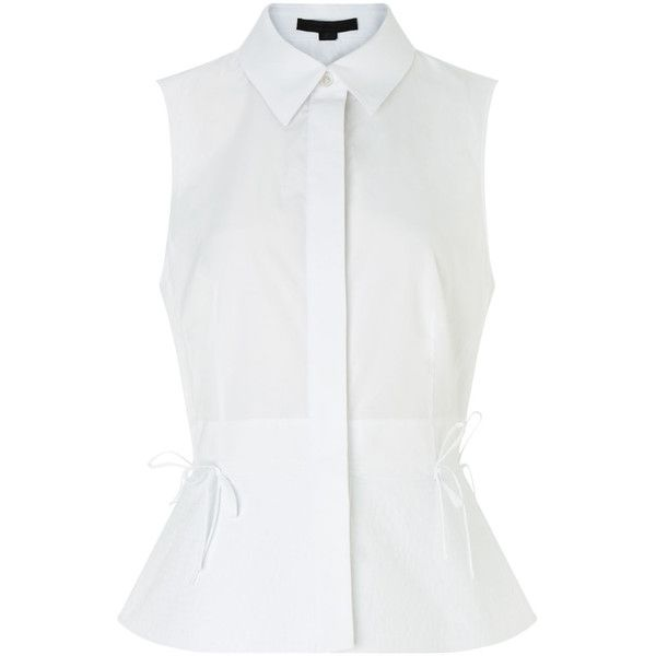 Alexander Wang White Cotton Sleeveless Cutaway Blouse ($165) ❤ liked on Polyvore featuring tops, blouses, shirts, blusa, peplum shirt, white peplum shirt, white peplum top, white shirt and shirt blouse
