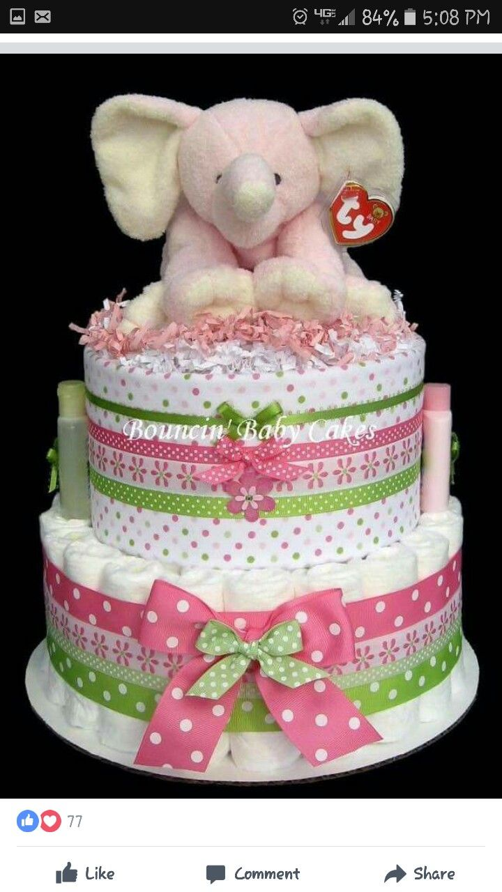 Elephant diaper cake w/ receiving blanket