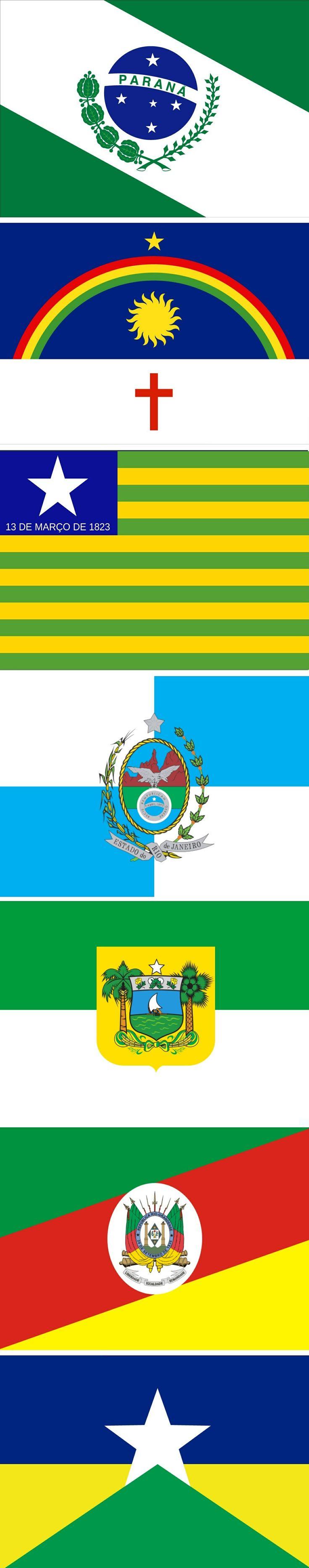 Flags of the states of Brazil: PARANÁ-PERNAMBUCO-PIAUÍ-RIO GRANDE DO NORTE-RIO GRANDE DO SUL-RONDÔNIA