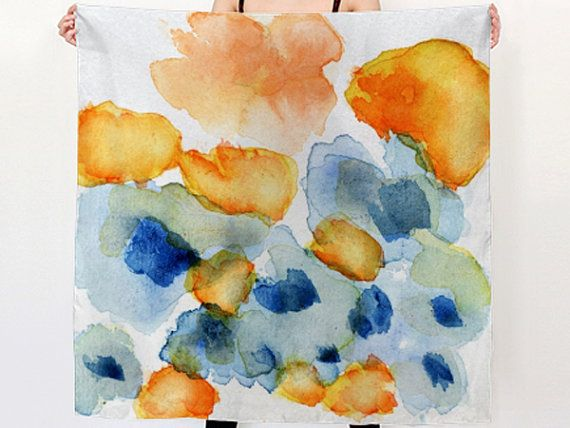 Silk scarf bright orange and blue on white. floral by studioRS