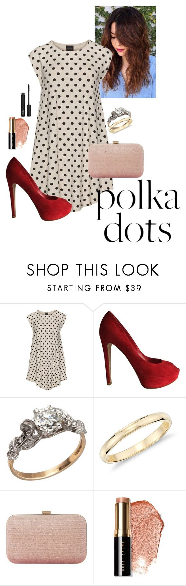 """""""polka dots dress"""" by lola-guadalupe-delgado ❤ liked on Polyvore featuring Choise, Christian Dior, Blue Nile, Dune, Bobbi Brown Cosmetics and plus size dresses"""