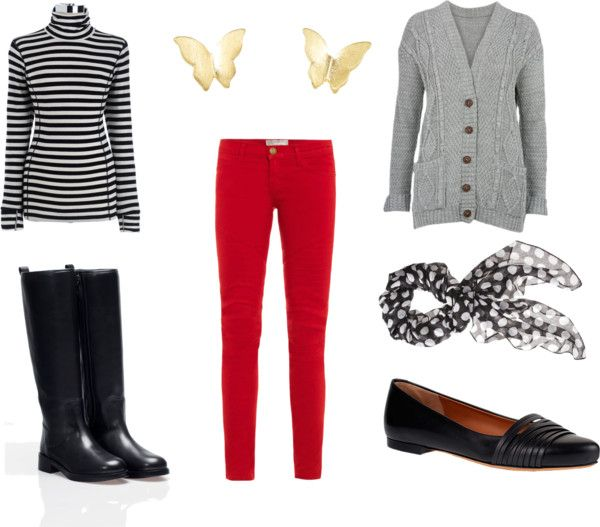 how to wear red pants in winter