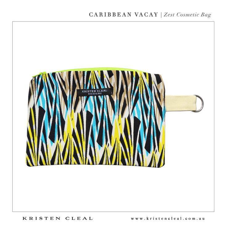 Zest Cosmetic Bag by Kristen Cleal Designs  Caribbean Vacay 2014 Collection