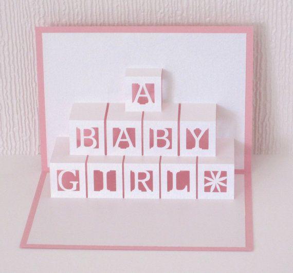 Bebé niña tarjeta Pop-Up 3D de ladrillos Felicidades nuevo