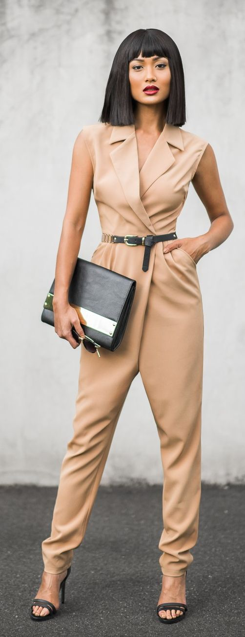 Nude Inspiration Jumpsuit by Micah Gianneli - Love the cut of the jump suit, not the color