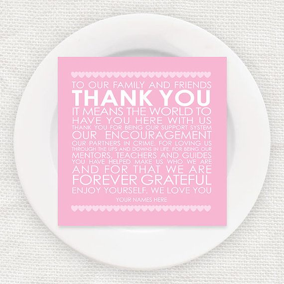 Printable Wedding Reception Thank You Card Romantic Pink