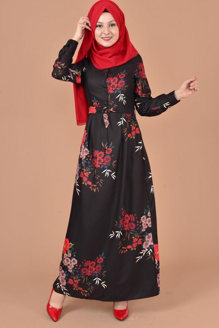 Çiçekli Düğmeli Elbise Siyah TUG 2929
