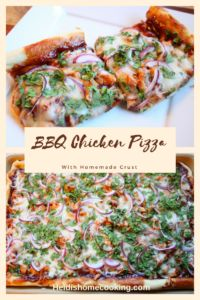 This homemade BBQ chicken pizza tastes just like the one from CPK (California Pizza Kitchen)! You can use premade pizza dough, like Pillsbury, or you can make your own crust using a recipe from the Pioneer Woman. Grill your own chicken or use a rotisserie