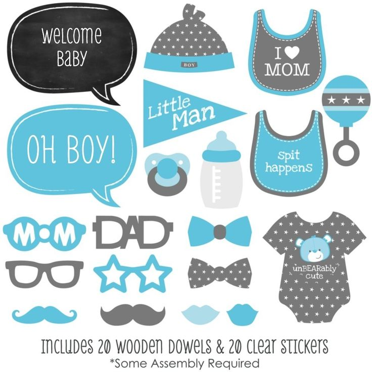 Amazon.com: Baby Boy - Piece Photo Booth Props Kit - 20 Count: Toys & Games