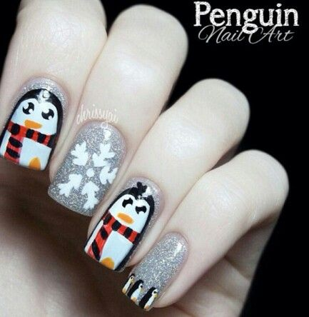 Penguins in scarves nail art for winter