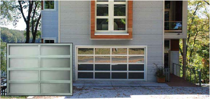 Modern Glass Garage Doors  Sophisticated garage doors.   Crisp & sleek design formed from durable corrosion-resistant aluminum and light-filtering glass.