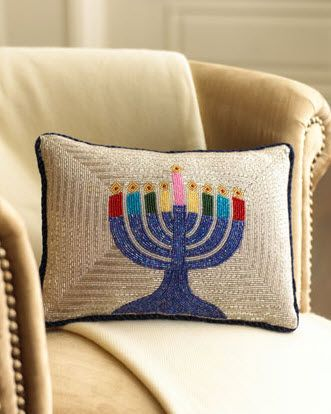 great beaded chanukah pillow, you could make a needlepoint one, to work on all year I might add!