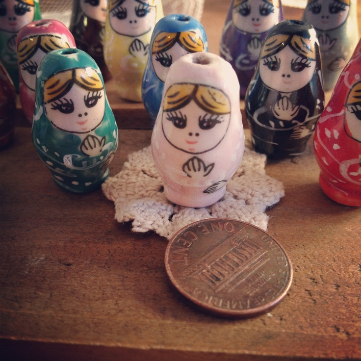 10 - Russian Nesting Doll Beads, HAND PAINTED Porcelain in Multiple Colors, Vintage Jewelry Supplies. $5.00, via Etsy.
