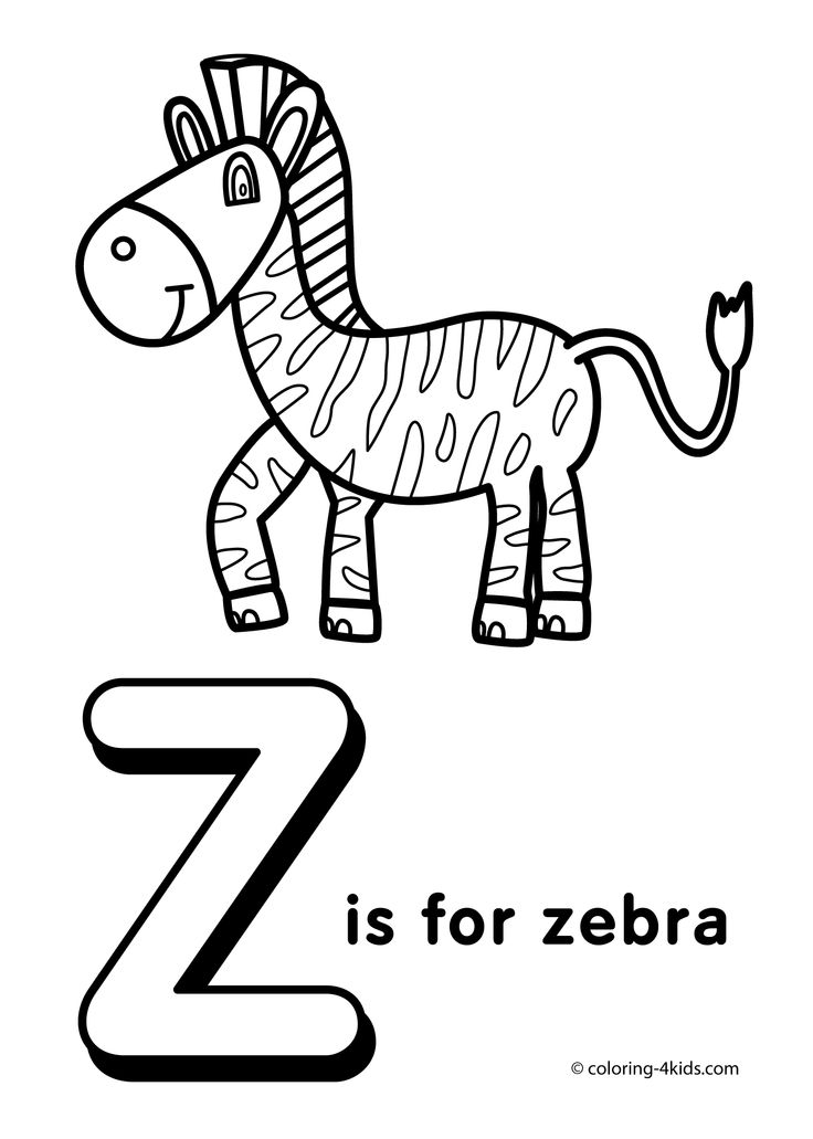 Letter Z coloring pages, alphabet coloring pages (Z letter